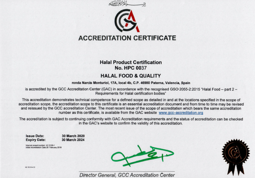 Signed GAC1 - HFQ renueva la acreditación Halal del GCC Acreditation Center